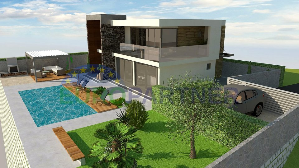 Modern villa with pool and sea view