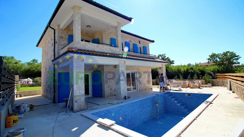 Malinska, new stone villa with pool and sea view!