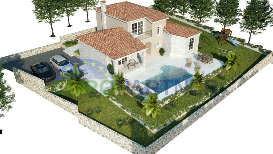 Villa with pool under construction