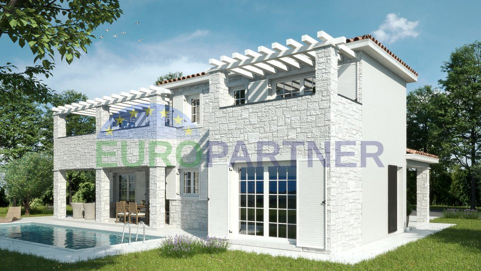 Villa with swimming pool under construction with beautiful panoramic sea views