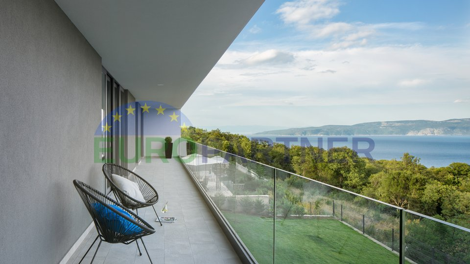 Luxury villa of modern architecture with an open sea view