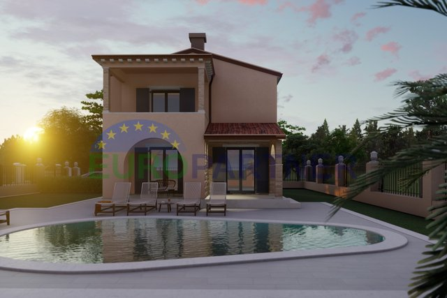 House with pool and open view of nature, 6 km from Porec, newly built