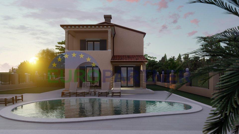 Kuća sa bazenom i otvorenim pogledom na prirodu, 6 km od Poreča, novogradnja