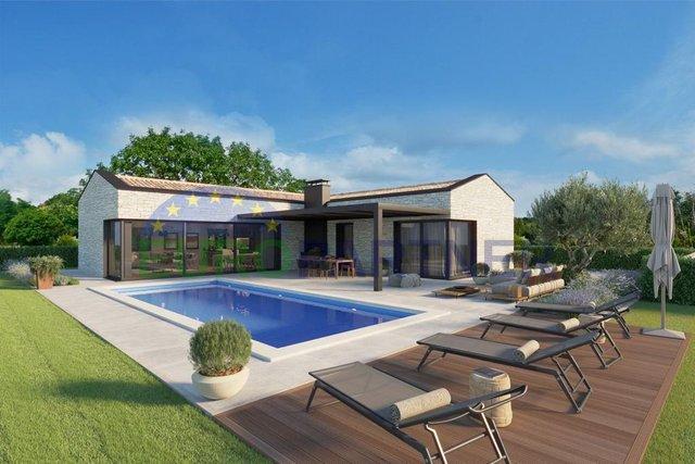 Novogradnja - prizemnica modernog dizajna sa bazenom 7 km od Poreča