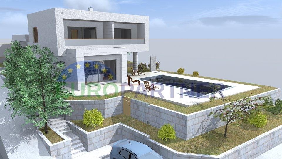 Bella villa costruita con piscina e vista sul mare vicino a Rogoznica